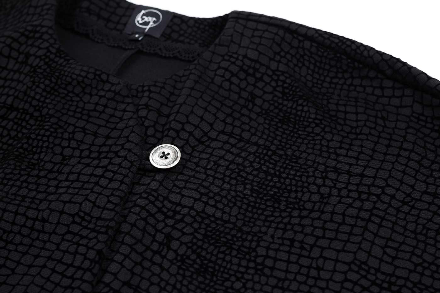 Cape aus gemustertem Jersey in schwarz