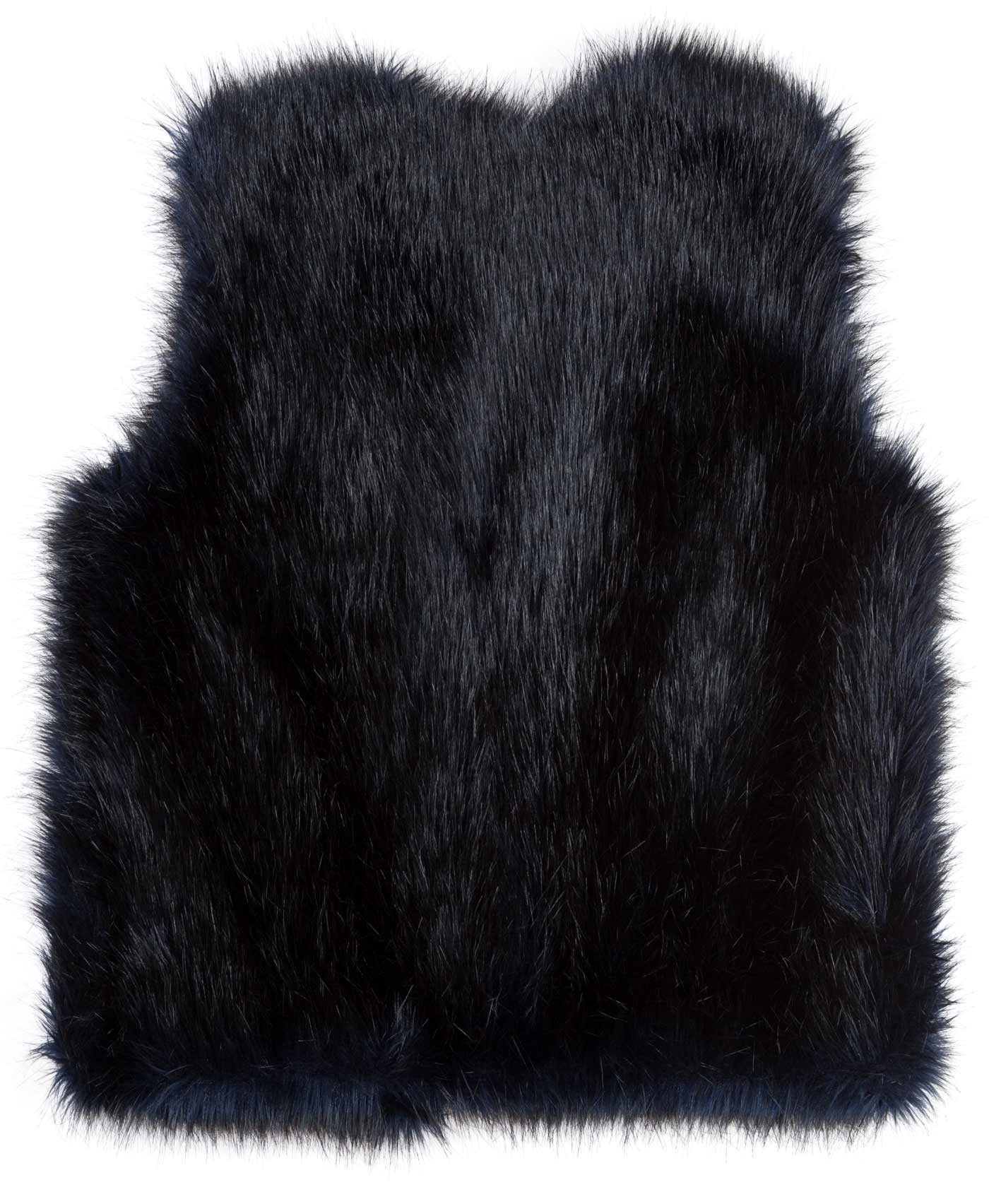 Faux-Fur-Weste aus schwarz-blauem Kunstpelz