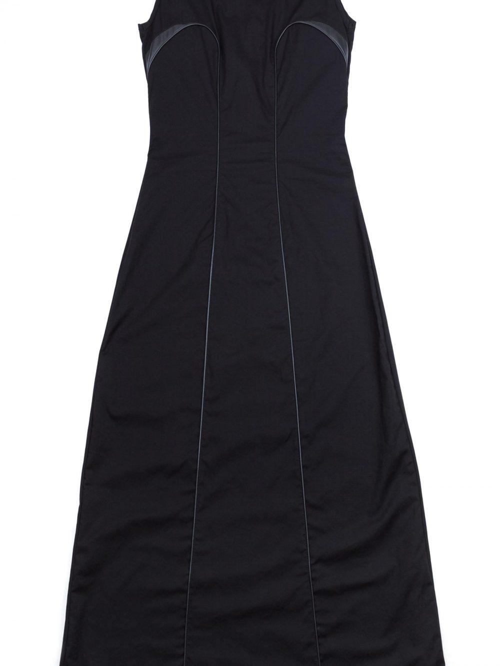 Langes Abendkleid aus schwarzer Biobaumwolle