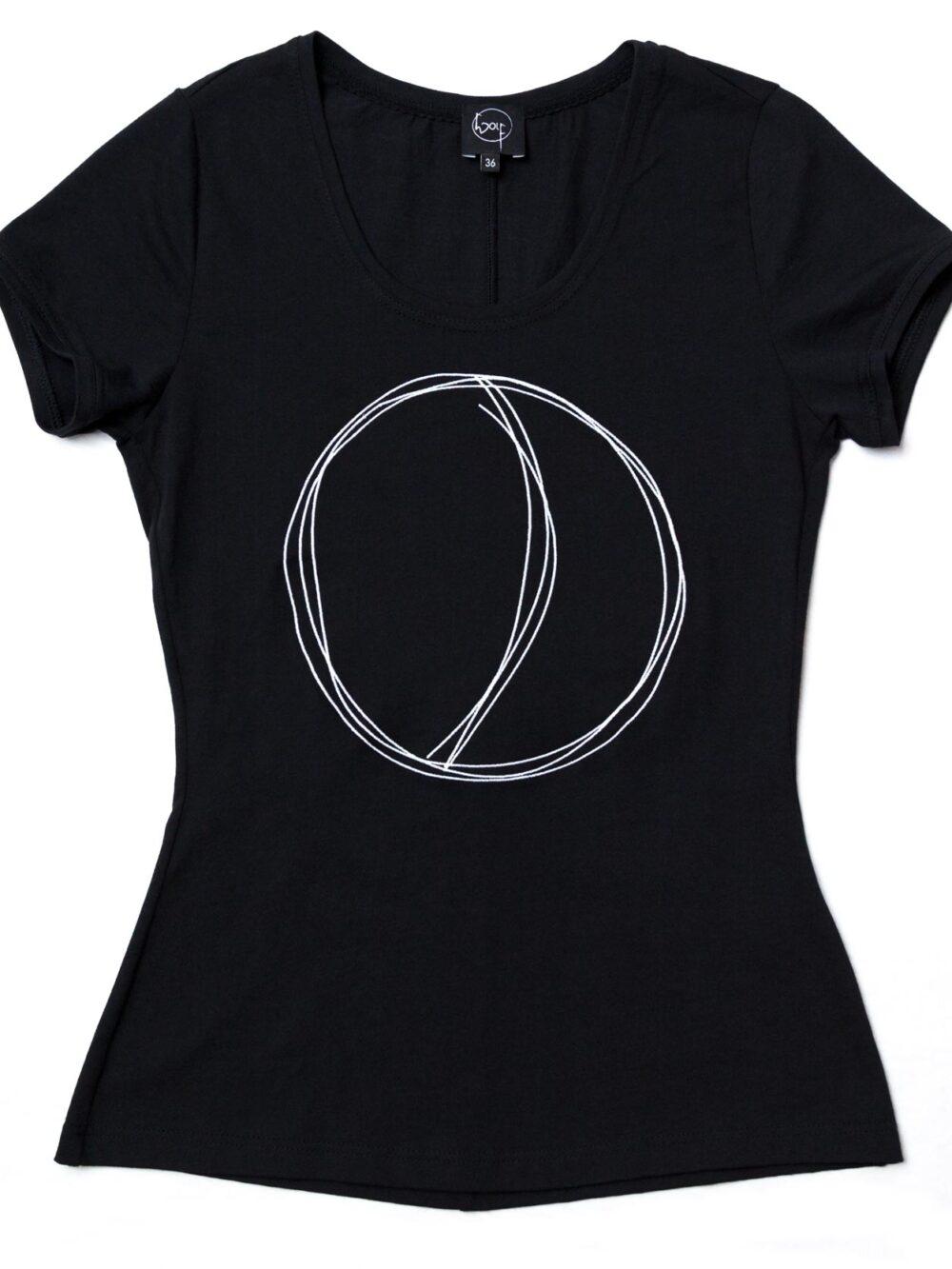 Besticktes T-Shirt aus schwarzer Biobaumwolle